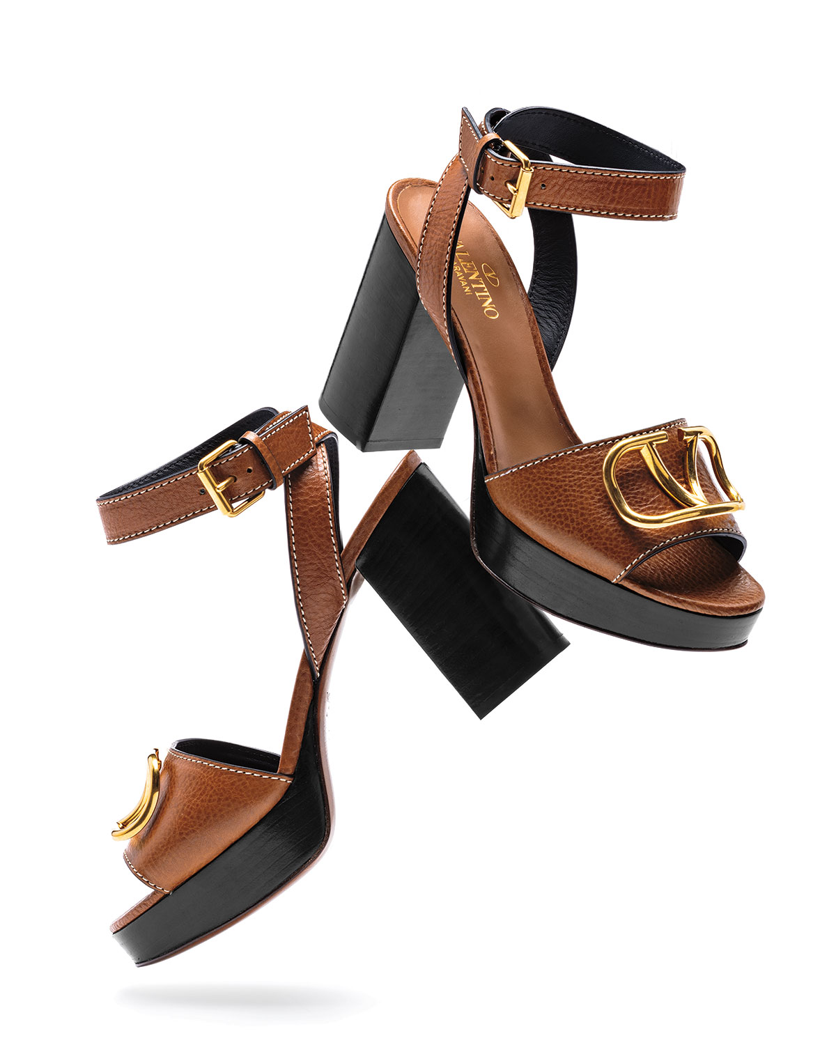 Vlogo Leather Platform Sandals by Valentino Garavani