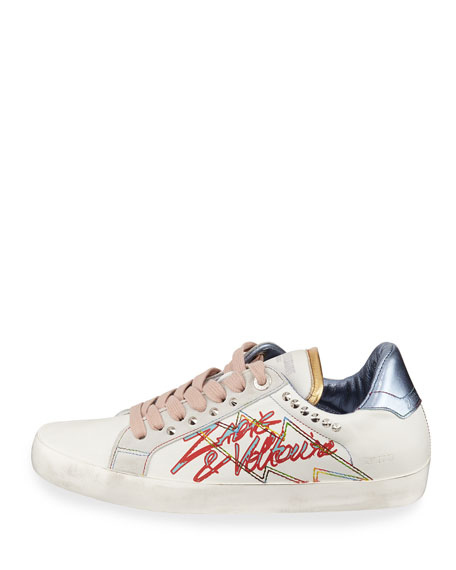 Zadig & Voltaire Zadig Tag Embellished Leather Sneakers