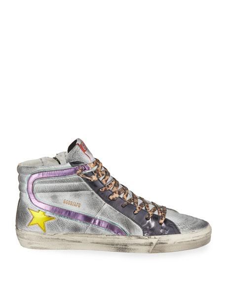 Golden Goose Slide Leather High-Top Sneakers
