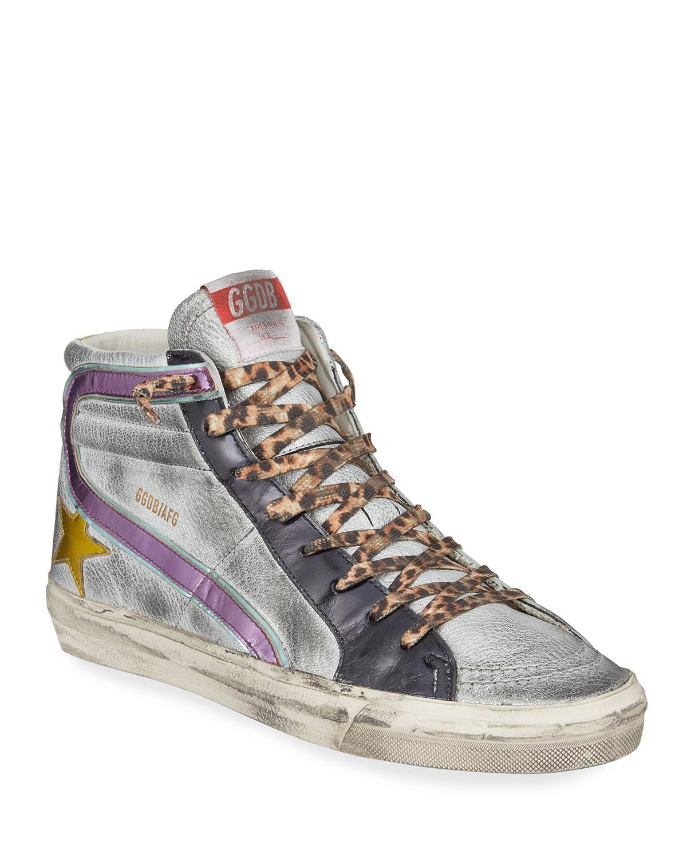 1441fc01d99b Golden Goose Slide Leather High-Top Sneakers | Neiman Marcus