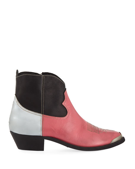 Golden Goose Young Distressed Colorblock Leather Ankle Boot