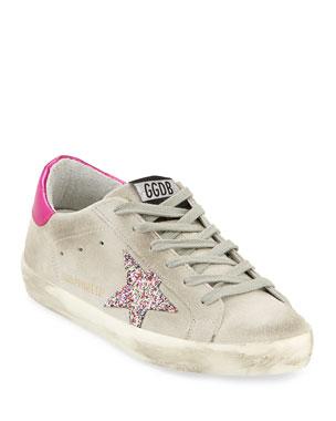 a9b172abbfdbc Golden Goose Superstar Suede   Glitter Sneakers