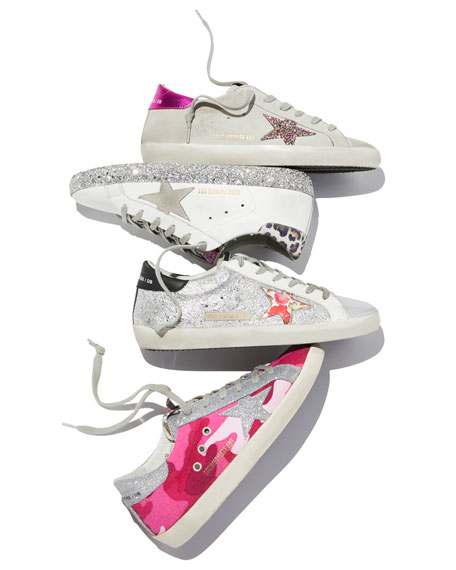 Golden Goose Superstar Leopard-Print Glittered Leather Sneakers