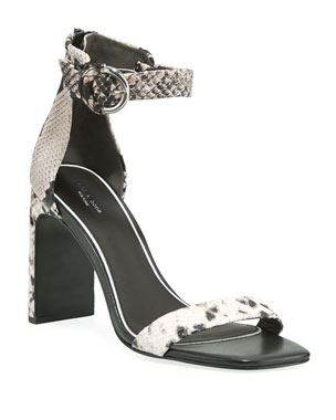 adec581dd0a0 Rag   Bone Ellis Snake-Print Leather Ankle-Strap Sandals