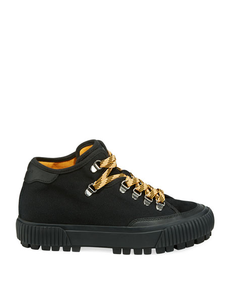Rag & Bone Army Hiker Canvas Mid-Top Sneakers with Suede