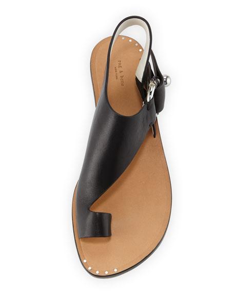 Rag & Bone Arc Flat Leather Toe-Ring Sandals