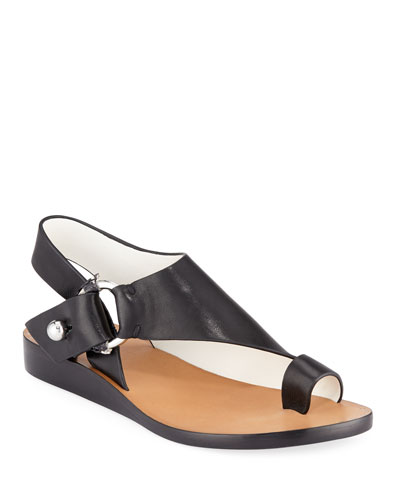 Arc Flat Leather Toe-Ring Sandals