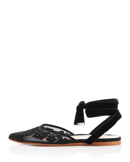 Marion Parke Naomi Ankle-Tie Suede Flats