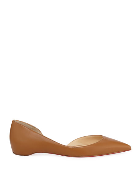 Image 2 of 3: Christian Louboutin Iriza Half-D'Orsay Red Sole Flats