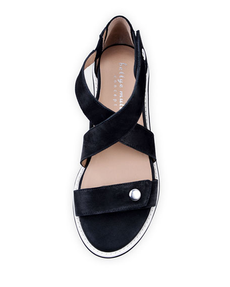 Bettye Muller Concept Tobi Leather Demi-Wedge Sandals, Black