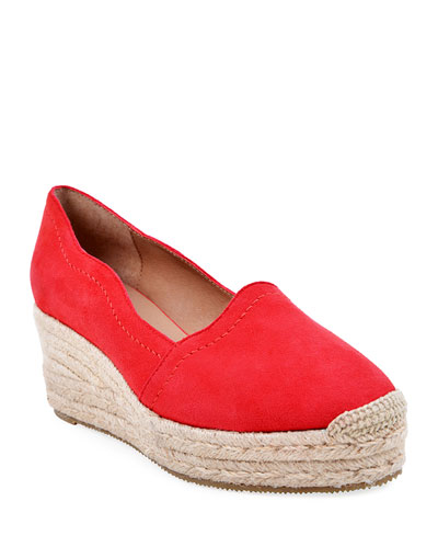Reese Scalloped Suede Espadrilles  Red