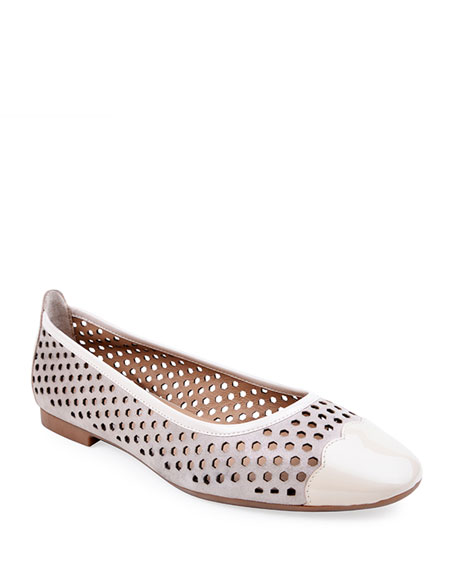 Bettye Muller Concept Janae Perforated Suede & Patent Leather Flats