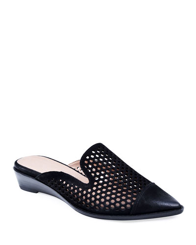 Cara Perforated Leather Mules  Black