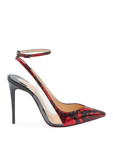 Christian Louboutin Optichoc Glossy Snakeskin Red Sole Pumps