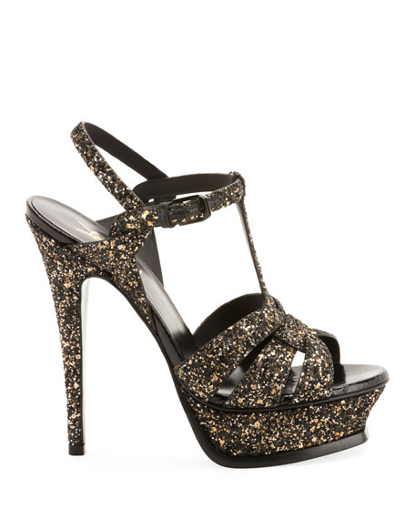 Saint Laurent Tribute Glitter Platform Sandals