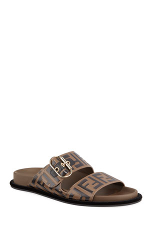 Fendi Leather FF Slide Sandals
