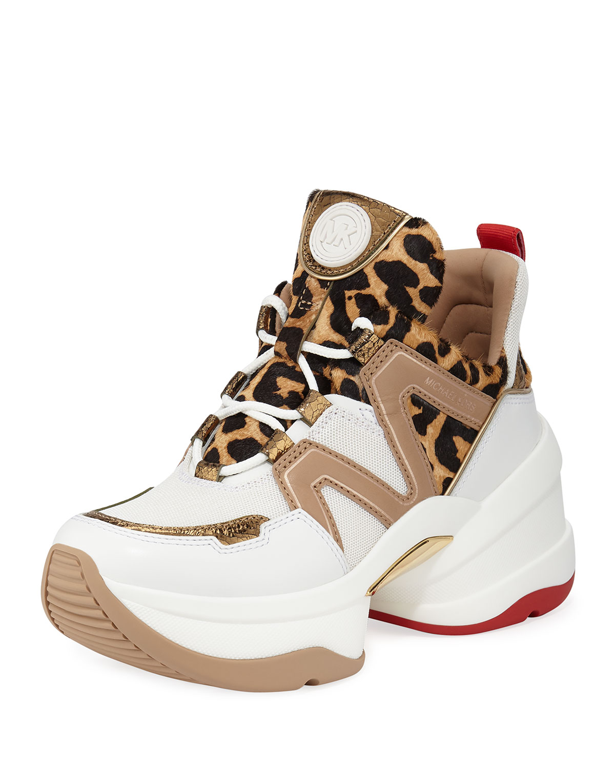 Michael Michael Kors Olympia Leather Chunky Trainer Sneakers Neiman Marcus