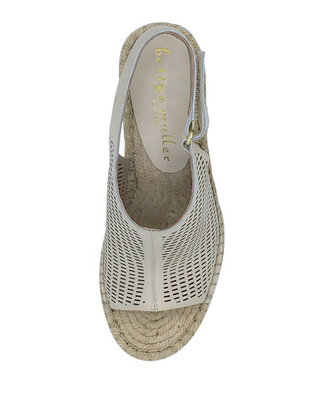 Bettye Muller Vicente Perforated Leather Wedge Espadrilles