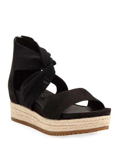 Eileen Fisher Zoe Leather/Mesh Espadrille Sandals