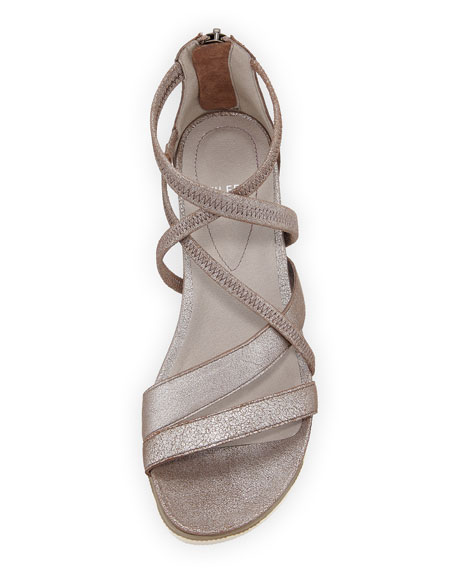 Eileen Fisher Skip Sport Metallic Leather Platform Sandals