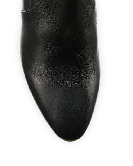 Salvatore Ferragamo Camelia Metallic-Heel Leather Booties