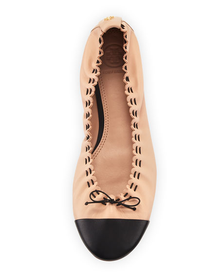 Tory Burch Scalloped Leather Cap-Toe Ballet Flats