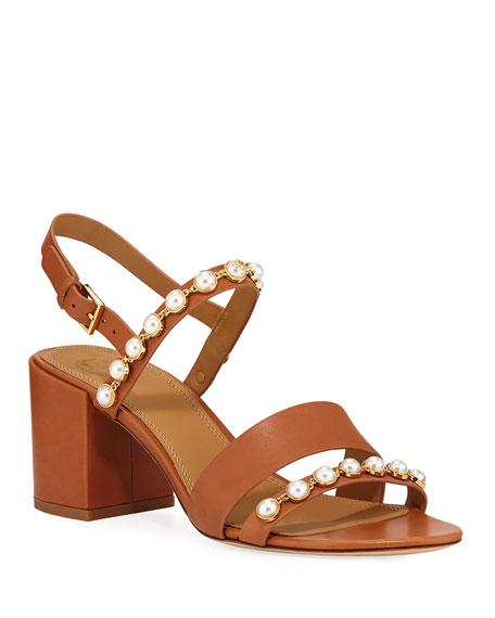 33fa422dda74 Tory Burch Emmy Pearly Studded Block-Heel Sandals
