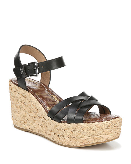 Sam Edelman Platforms DARLINE LEATHER PLATFORM ESPADRILLE SANDALS, BLACK