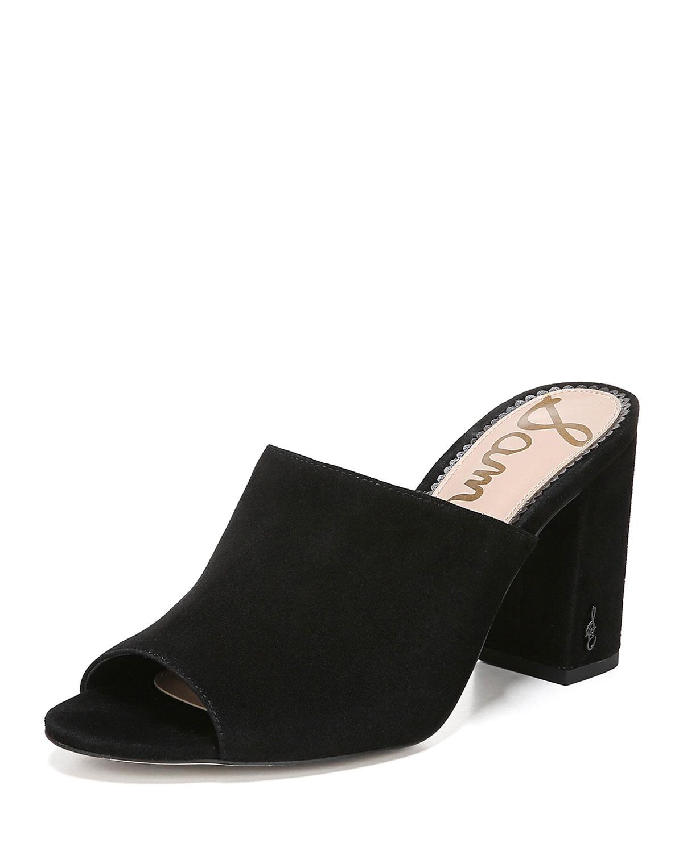 a23329610ab Orlie Block-Heel Suede Mule Sandals