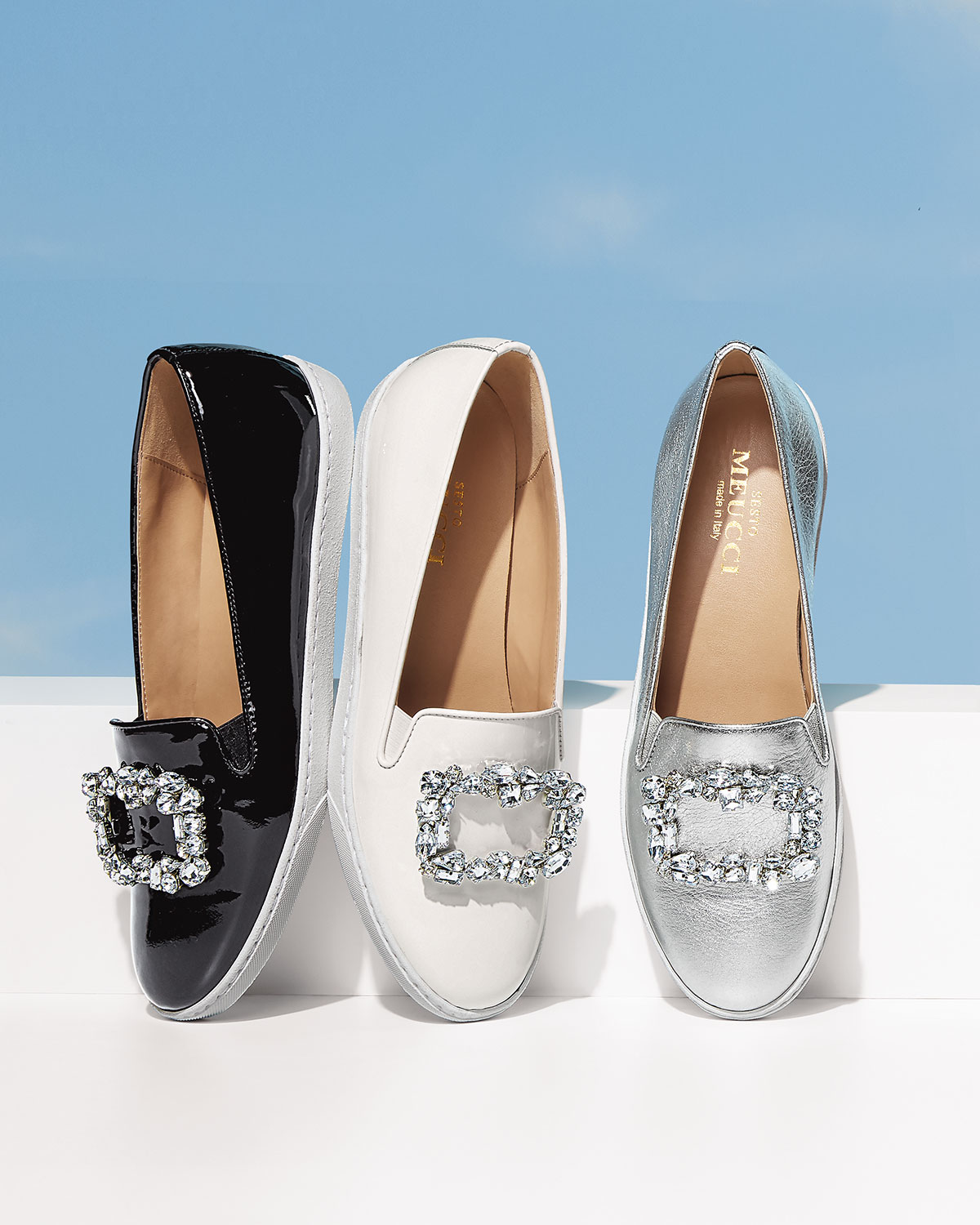 Frieda Ornamented Patent Sneakers, White by Sesto Meucci