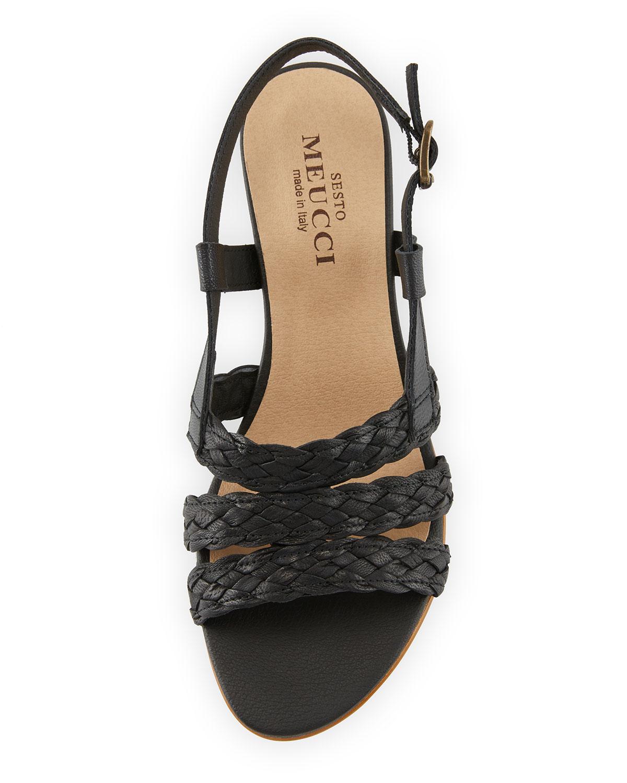 65b27a41b11 Gia Woven Leather Slingback Sandals, Black