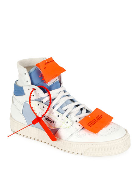 Off-White Off-Court Logo-Embellished Canvas, Leather And Suede High-Top Sneakers In White