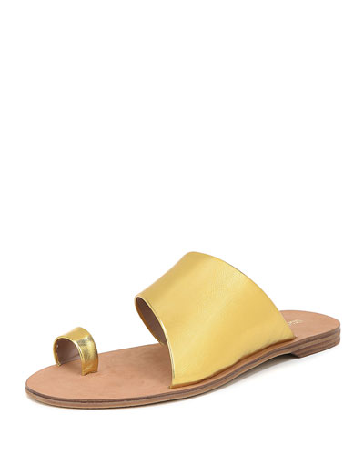 Brittany Flat Metallic Leather Slide Sandals