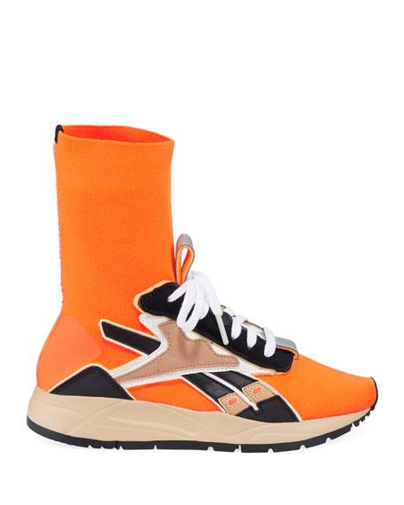 Reebok by Victoria Beckham Bolton Stretch-Knit Sock Sneakers, Orange