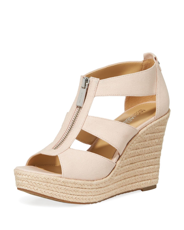 d3e61646392 Damita Zip-Front Wedge Sandals, Fuchsia