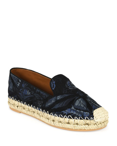 Valentino Garavani Butterfly-Print Fabric Espadrille, Night Blue/Black