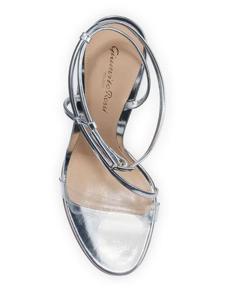 Gianvito Rossi Metallic Clear-Strap Asymmetric Sandals