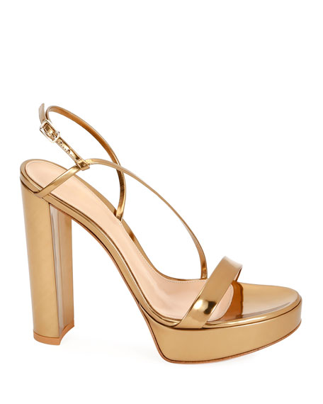 Gianvito Rossi Strappy Metallic Leather Platform Sandals
