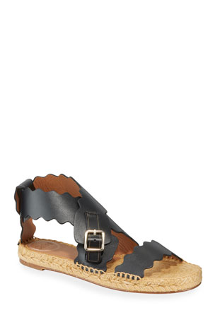 Chloe Lauren Scalloped Flat Espadrille Sandals