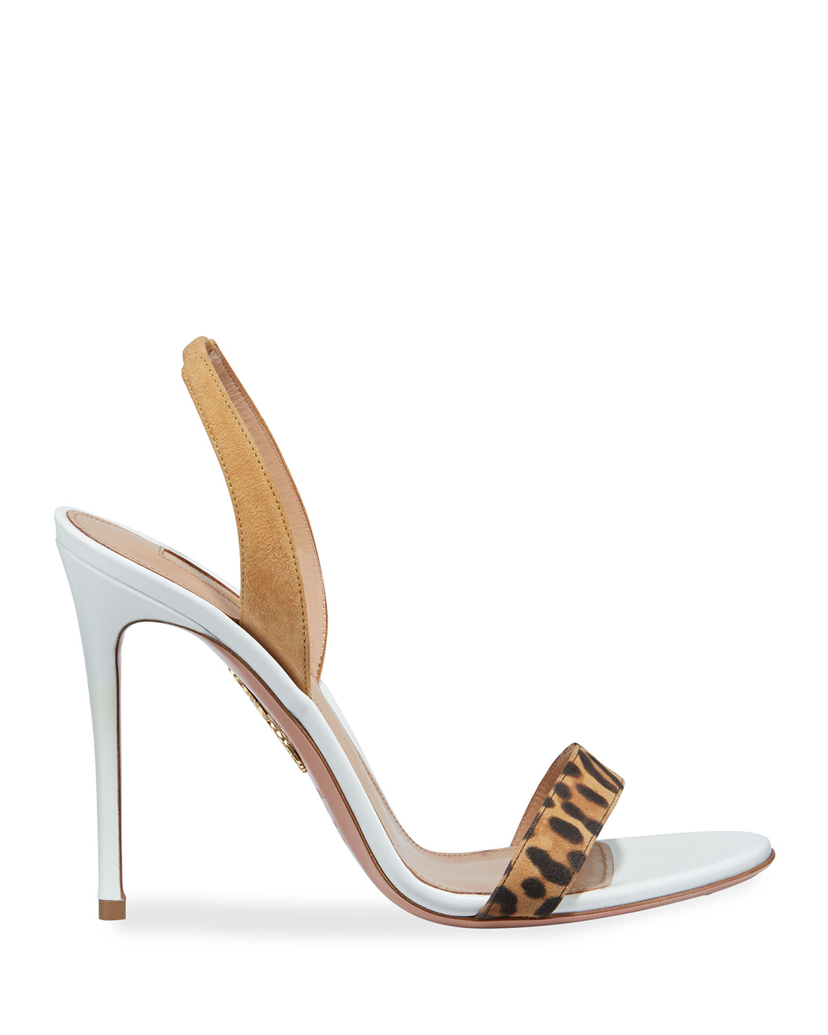 So Nude Leopard Strap Slingback Sandals by Aquazzura