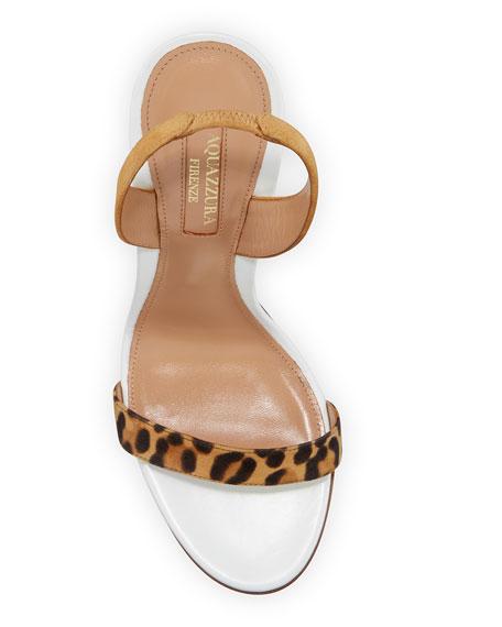 Aquazzura So Nude Leopard-Strap Slingback Sandals