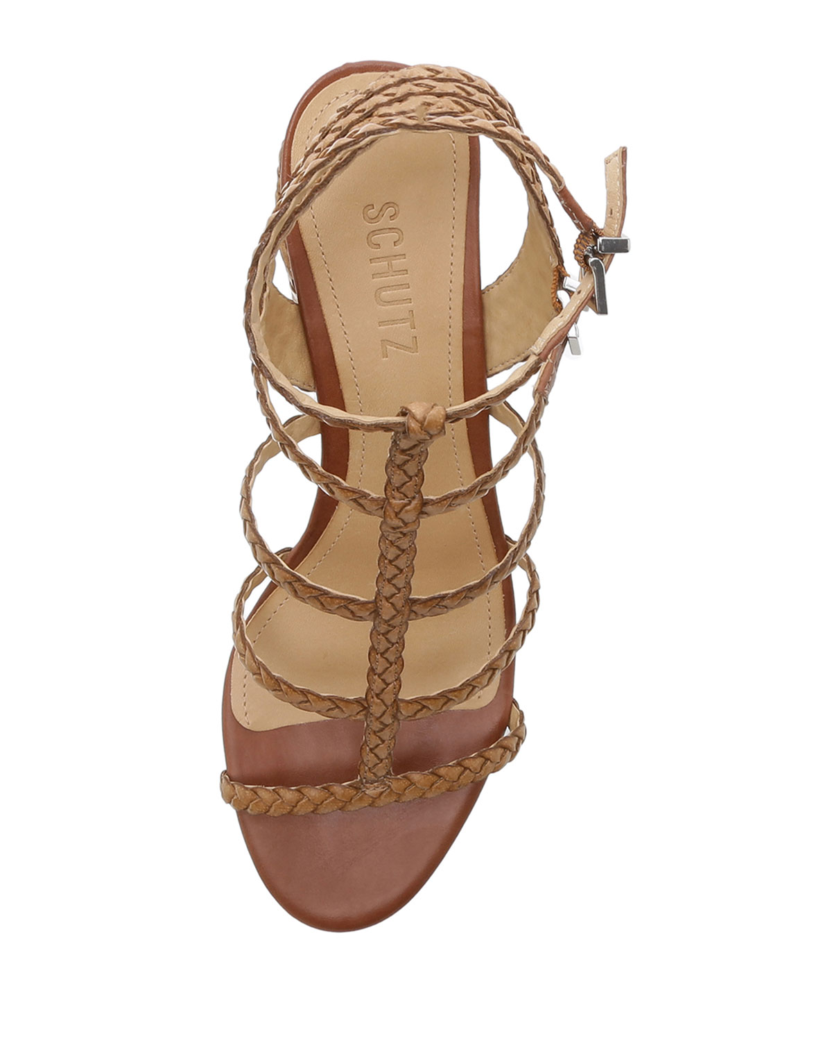 21232846ad Schutz Rosalia Braided Leather Caged Sandals | Neiman Marcus