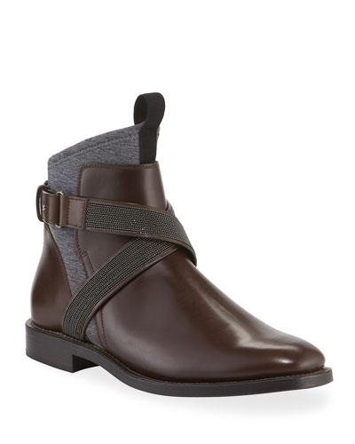 Leather Boots with Monili Strap