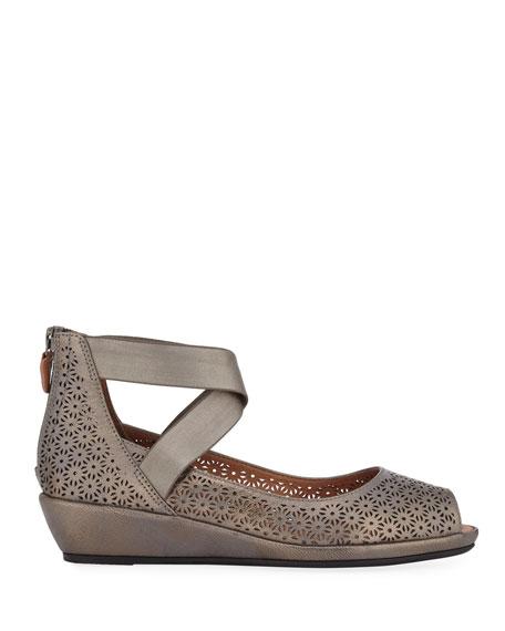 Gentle Souls Lisa Metallic Demi-Wedge Comfort Sandals