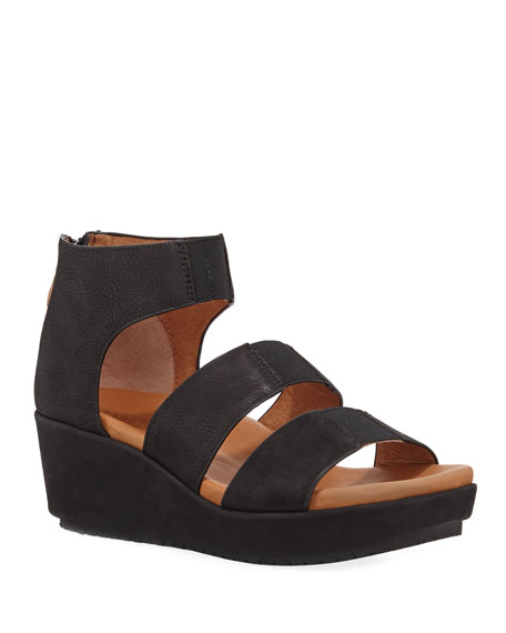 Gentle Souls Milena Leather Demi-Wedge Sandals