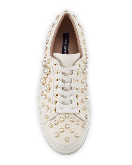 Stuart Weitzman Pearline Platform Lace-Up Sneakers