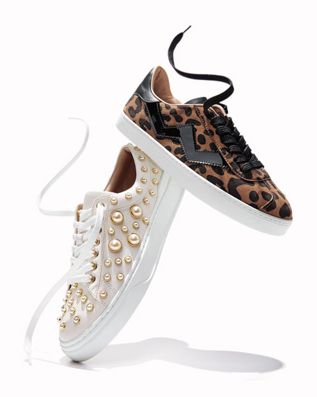 Stuart Weitzman Pearline Platform Lace-Up Sneakers
