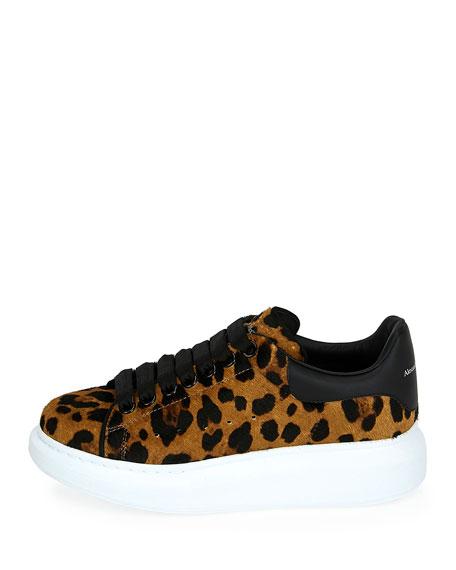 Alexander McQueen Leopard Calf-Hair Platform Sneakers