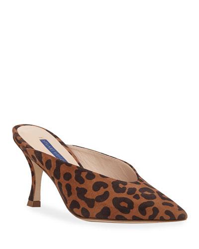 Lulah Leopard Suede Low-Heel Mules