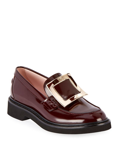 Patent Leather Pilgrim Buckle Loafers